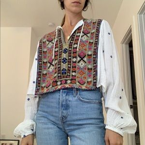 Free People Embroidered Cropped Blouse